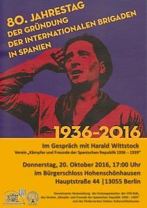 80. Jahrestag der Gründung der internationalen Brigaden in Spanien