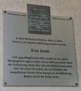 Gedenktafel für Else Jahn, Berliner Allee 21