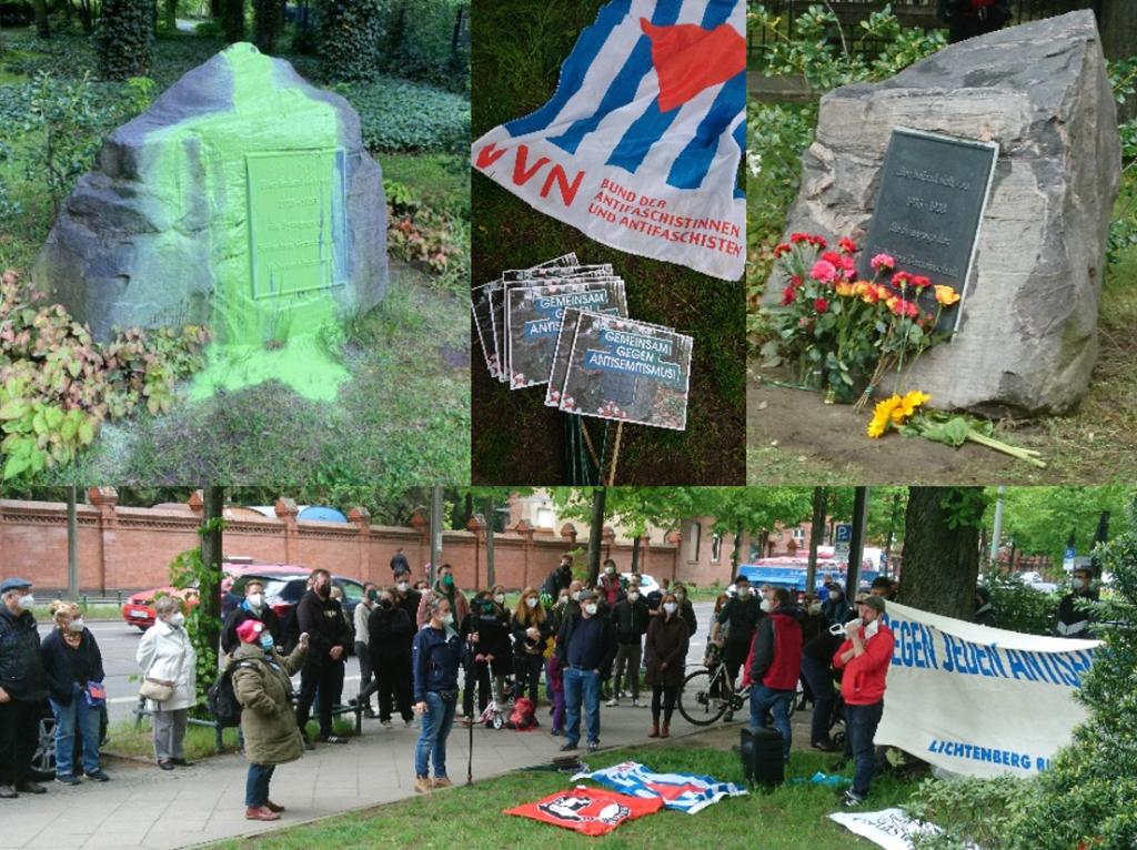Protest gegen die Schändung des Gedenksteins